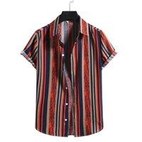 Männer Casual Hemden Männer Bunte Streifen Kurzarm Baumwolle Leinen Taschen Daunen Strand Lose Hemd Sommer Bluse Camisa