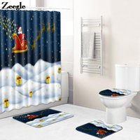 Bath Mats Christmas Style Mat And Waterproof Shower Curtain Set Bathroom Decor Carpet Absorbent Toilet Rugs Flannel Foot