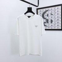 21SS Men Stampato T Shirt Triangle Colore Blocco Vestiti a maniche corte Tag Lettere Polo Black Bianco 02