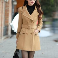 Women's Trench Coats Ladies Long Sleeve Lapel Collar Jacket Loose Buttons Coat Winter Warm Sweater