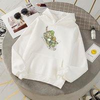 Women's Hoodies & Sweatshirts Frog Printed Womens Pullovers Female Harajuku Korean Clothes Women Oversized Sweatshirt Kawaii Funny Long Slee
