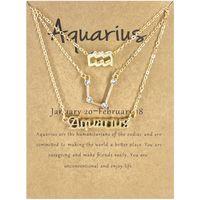 Fashion Twelve Constellation Pendant Necklace Letter Symbol Diamond Three-Piece Card Ornament