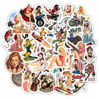 49 قطع الرجعية مثير فتاة ملصقات محمول دراجة نارية سكيت دودل diy المشارك سيدة ملصق ديكور المنزل تصميم صائق اللعب