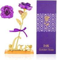 Flor de plástico de rosa artificial, rosa de rosa púrpura, rosa de oro de 24k con caja de regalo