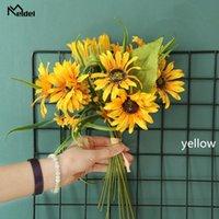 Decorative Flowers & Wreaths Meldel Artificial Flower Silk Sunflower DIY Arrangement 10 Heads Bridesmaid Bouquet Home Wedding Party Decor