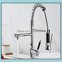 Faucets Faucets, Showers As Home & Gardenwholesale Polished Chrome Spring Pl Down Faucet With Two Spouts Handheld Shower Kitchen Mixer Tap D