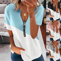 Women's T-Shirt Summer Contrast Print V-neck Top Vintage Zipper Short Sleeve Shirt Women Fashion Loose Pullover Casual Streetwear Tshirt