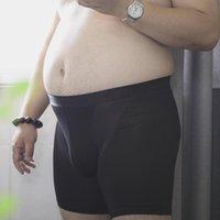 Underpants Long Boxer Briefs For Men Anti Wear Leg Chubby Large Size Plus Fitness Shorts Running Underwear U-shaped