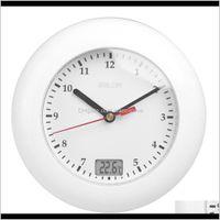 Baldr温度計バスルームの壁時計温度表示壁ぶら下がって吸引カップのアナログ防水シャワー時計時計KZ2IF 3Z5FL