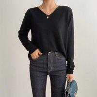 Женские свитеры HZIRIP 7 Цветов Элегантный V-образным вырезом Базовый свитер SL старинные сплошные пуловеры с длинным рукавом свободные вязаные женские одежды