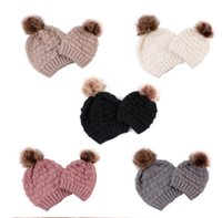 Matching Hats for Mother Daughter with Pompom Knitted Cap Family Crochet Ski Hat Mom Child Baby Christmas Gifts 5 Colors Fashion Beanie