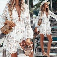 Casual Vestidos Verão Mulheres Bikini Cobertura Floral Lace Hollow Crochet Swimsuit Cover-Ups Banheira Terno Beachwear Túnica Praia Vestido