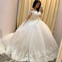 2021 Vintage Ball Gown Wedding Dresses Bride Dress Off Shoulder Long Sleeves Lace Appliques With Flowers Dubai Arabic Gowns Middle East