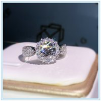 럭셔리 할로우 플라워 소나 다이아몬드 반지 925 스털링 실버 약혼 결혼식 밴드 링 여성을위한
