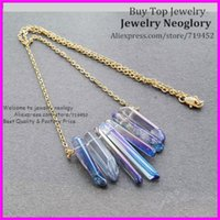 5pcs lucido Blue Rainbow Titanium Aura Cryatal Quartz Spike Collana Druzy Punto arrow Gemme Boho con catena in ottone oro