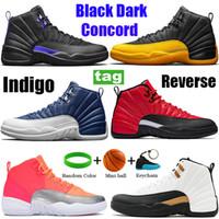 جديد 12 12 ثانية أحذية رجالي baslketball الأسود الظلام جامعة كونكورد الذهب النيلي عكس الانفلونزا لعبة تاكسي cny رمادي غامق تشغيل أحذية رياضية