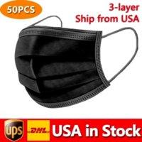 США В наличии Черные одноразовые маски для лица 3-слой защита санитарно-класса на открытом воздухе с ротом рта PM Предотвращение DHL 24H Free Free Fast 4961