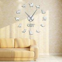 Horloges murales mignon égyptien mau chat bricolage grand horloge race kitty décor maison cadre de longues mains longues grandes poignée miroir effet