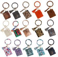 Designer Bag Carteira Leopard Leopard Impressão PU Pulseira de Couro Streamers Keychain Carteiras Cartão de Crédito Borlas Bangle Chaveiro Titular Bolsa Bolsa Senhora Acessórios
