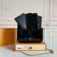 M61276 럭셔리 디자이너 여성 어깨 가방 메신저 지갑 핸드백 지갑 Pochette Felicie 3 피스 스타일 및 Box N63106와 황금 체인 지갑