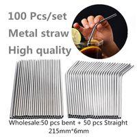 100pcs / 세트 금속 밀짚 재사용 가능한 도매 스테인레스 스틸 마시는 튜브 215mm * 6mm 에코 친화적 인 똑바로 구부러진 빨대 맥주