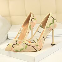 2022 fashion red bottom women dress shoes high heels party wedding anniversity ladies fasion luxurys pointed peep toes Net cloth embroidered