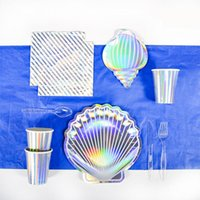 Disposable Dinnerware Colorful Laser Shell Party Paper Plate Seaside BBQ Tableware Set Cup Tablecloth Birthday Decoration Baby Shower
