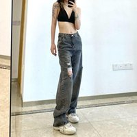 Women's Jeans Fall 2021 Retro Bf Ripped Straight Female Net Red High Waist All-match Loose And Thin Wide-leg Mopping Trousers Tide