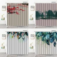 Shower Curtains Striped Background Ink Painting 3D Landscape Feather Hooks Bathroom Curtain Home Decor Cloth Bathtub Accessories