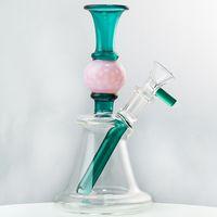 다채로운 Heady 유리 봉 공 모양 유리 봉사 스트레이트 퍼크 워터 파이프 금연 파이프 n 구멍 perc 큰 비커 연기 perc dab 조작 그릇