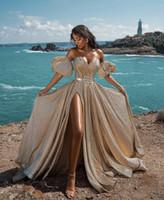 エレガントなゴールドイブニングドレス2021ニュードバイフォーマルガウンセクシーなスウィートハートネックハイスプリットスパークリングパーティーウエディングドレスアラビアミドルイースト