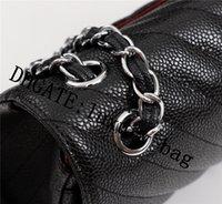 Mujeres de lujo diseñador de hombro bolsa de hombro marca marca moda monedero mini clásico bolsas genuino cuero cruz cuerpo bolso caviar textura cadena bolsos