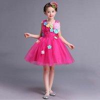الفتاة فساتين رسمي وردي أزرق أبيض الأميرة الحمراء الاطفال فتاة حفلة موسيقية اللباس تول الزهور الزفاف حزب مهرجان للطفل