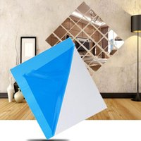 Wall Stickers Mirror Sticker Square Self Adhesive Room Decor DIY Home Bath Living 30x30cm 16 Pcs