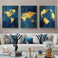 Pinturas Abstract Mapa de oro Arte de la pared Lona de lujo Pintura azul marino Pósteres y estampados Fotografías F Decoración de la casa de la casa