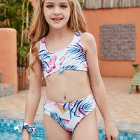 2020 2-14 ans Enfants Enfants Toddler Teen Girls Feuille Libre Bikinis Ensemble Two Piece Maillot de bain Mignon Maillot de bain Summer Beach Costume de bain L0222