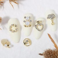 Nail Art Dekorationen 20 teile / los Geometrische Zirkon Perle Girlande 3D Legierung Chic DIY Schmuck Zubehör Großhandel Tropfen