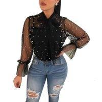 Neue Sheer Mesh Pearls Frauen Blusen Lace Up Bow Collar Laterne Langarm Casual Tops Damen Hemd Clubbekleidung Blusas