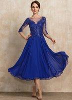 Elegant Royal Blue Tea-Length Chiffon Lace Mother of the Bride Dress Sequins A-line Bridal Party Gown Customed Robe De Soiree Vestidos