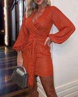 Women Sequin Deep V-Neck Long Sleeve Bodycon Clubwear Evening Party Mini Dress