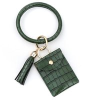 Card Holders 2021 Large Bracelet Keychain Holder Tassel Bangle Key Ring Wristban With Wallet Solid Color Id Bolsa #YJ