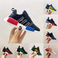 Top quality Gradient NMD Kids Running Shoes Fashion Glory Pink Metal Grey Signal Green OG Uncaged Boy Girl Walking Trainers Sneakers Size 22-35