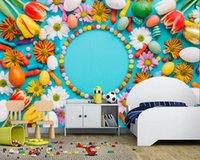 Fonds d'écran Papel de parede 3D Pâques Tulips Candy Equips Fleurs Fond d'écran Salon Chambre à coucher Salle à manger TV Cuisine de fond