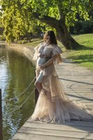Casual Dresses Sexy Maternity Tulle Women Ruffles Tiered Robe Sheer See Through Long Floor Length Dress Po Shoot Pregnancy Prom Gown