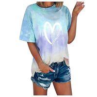 Women's T-Shirt Women Gradient Heart Print T-shirts Short Sleeve Summer Casual Tops Street Sport Loose Tee Lady O-neck Tie-dye #T1G