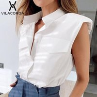 Coton revers épaule-pad femmes blousière blousière blouse suit high-rue couture sans manches molles shirt bureau dame de base des vêtements en vrac