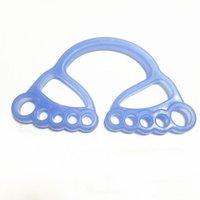 Портативные полосы сопротивления Портативные Yoga Веревочный сундук Многофункциональный силиконовый расширитель тренировки с ручкой кольца пальцев (синий)
