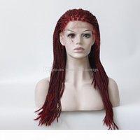 부르고뉴 손 묶여 내열 섬유 머리 가발 합성 꼰 레이스 프론트 가발 흑인 여성용