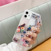 Hand Chain Mobile Cover with Transparent Chain for Iphone 11 12 Pro Clear TPU Case flowers Fashion Phone Case for Girl Wholesale 97265
