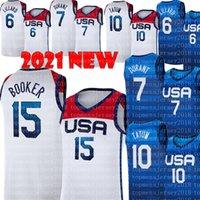Devin 15 Booker Jersey 2021 National Seam Basketball Kevin 7 Durant Damian 6 Lillard Jayson 10 Tatum Jerseys Branco Mens Azul S-XXL Bordado Logos